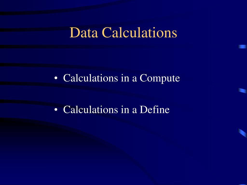 Data Calculations