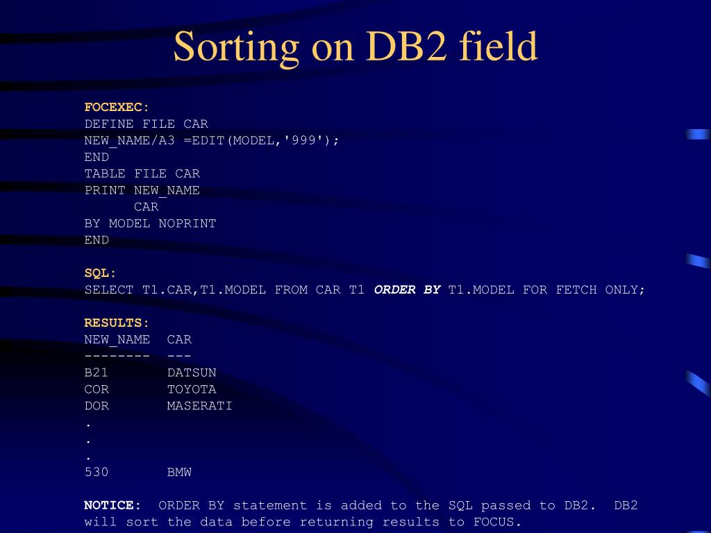 Sorting on DB2 field