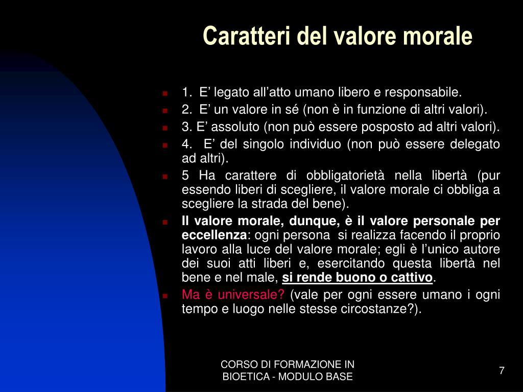 Caratteri del valore morale
