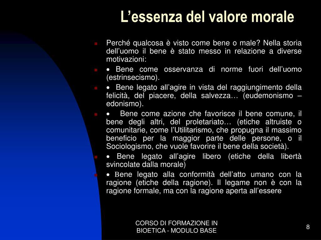 L'essenza del valore morale