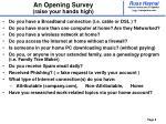 an opening survey raise your hands high