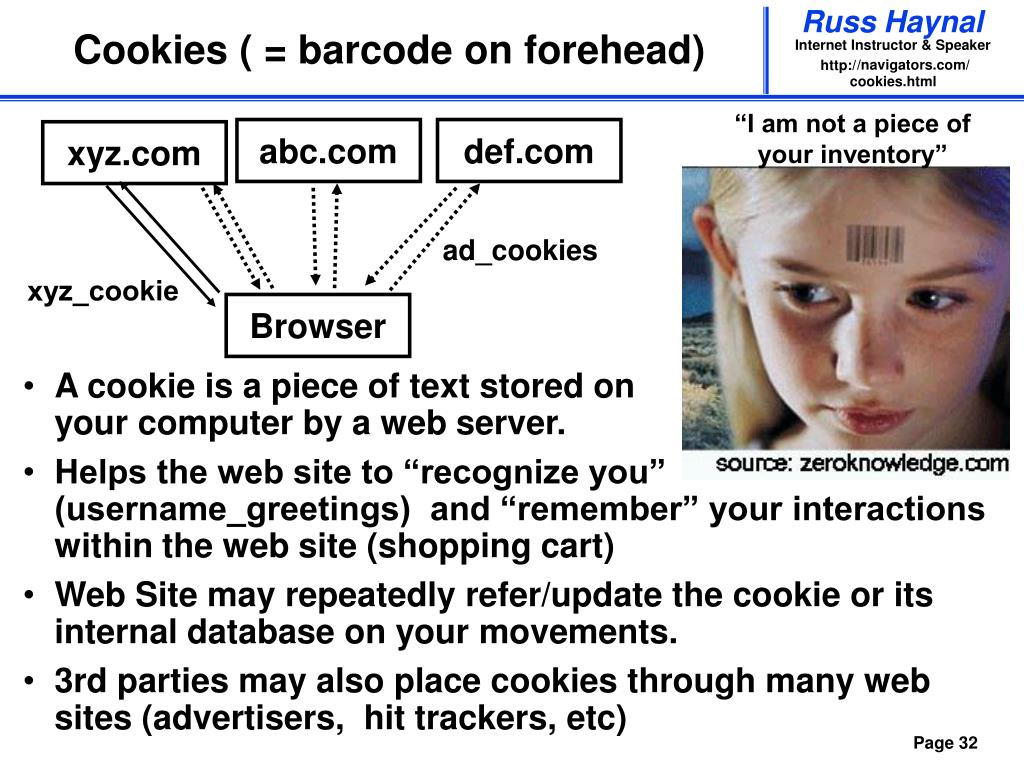 Cookies ( = barcode on forehead)