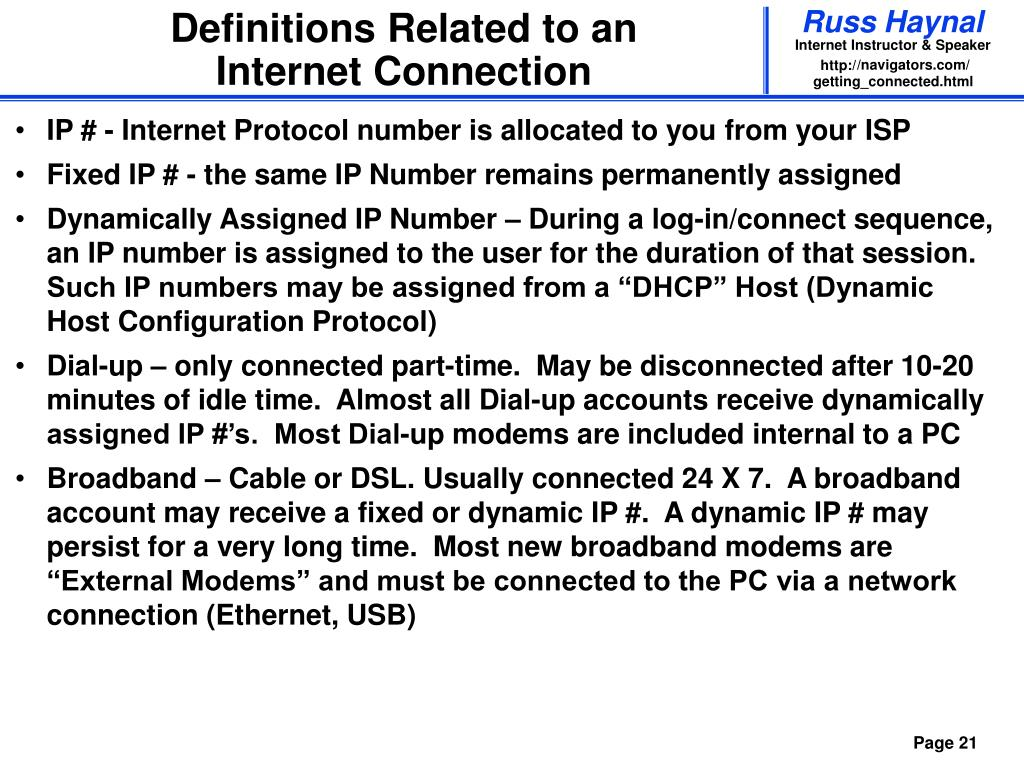 Definitions Related to an Internet Connection