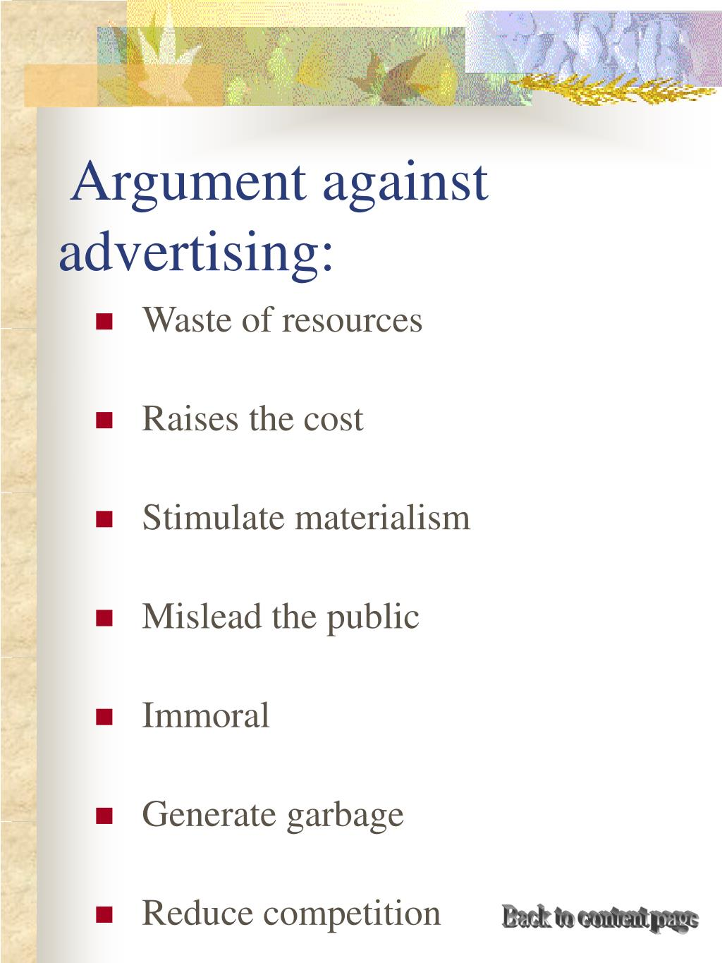 Argument against advertising