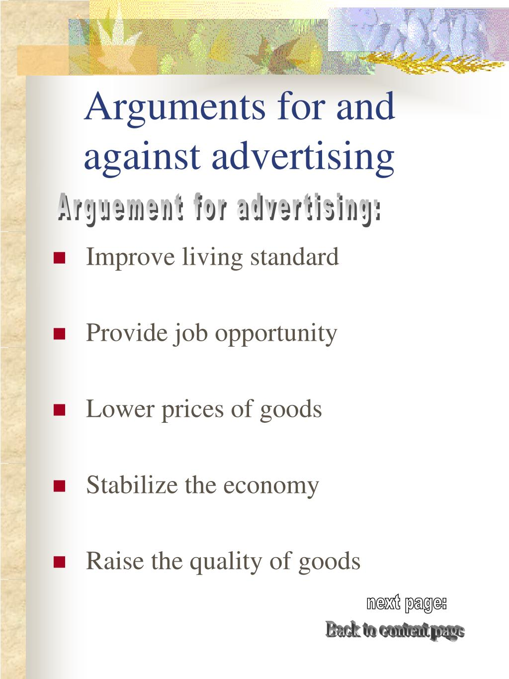 Arguments for and against advertising