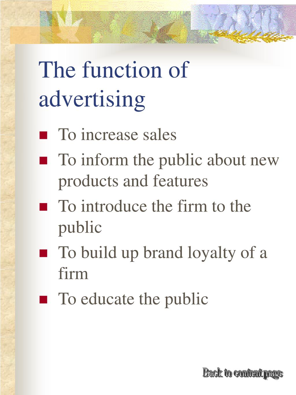 The function of advertising