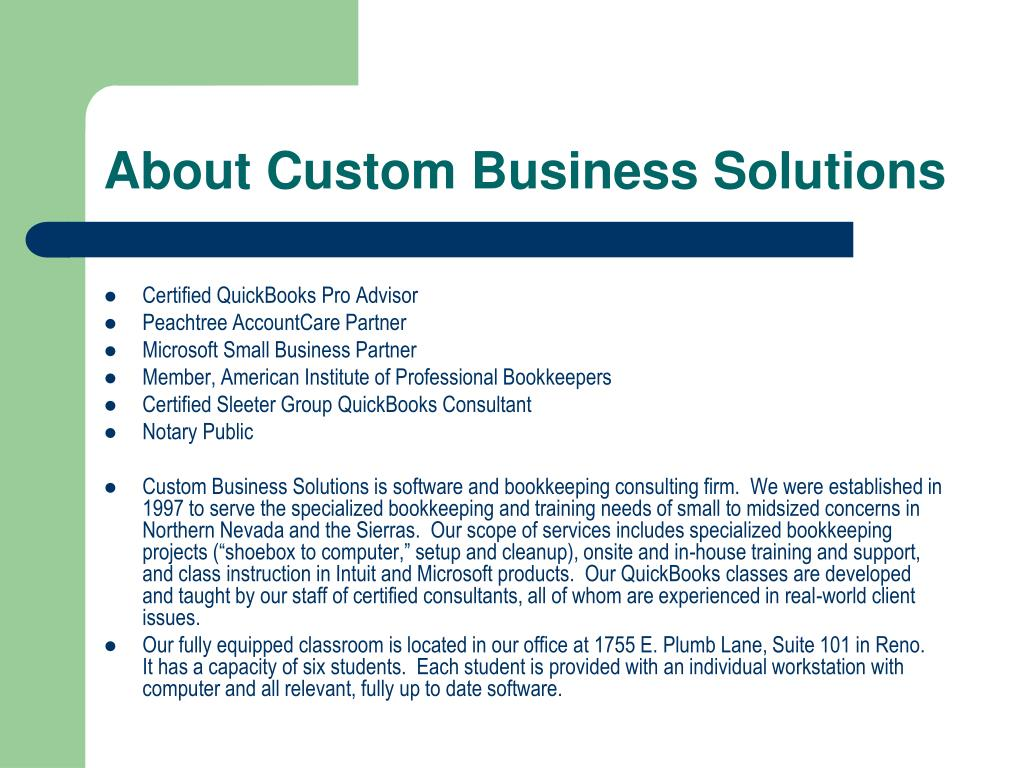 About Custom Business Solutions