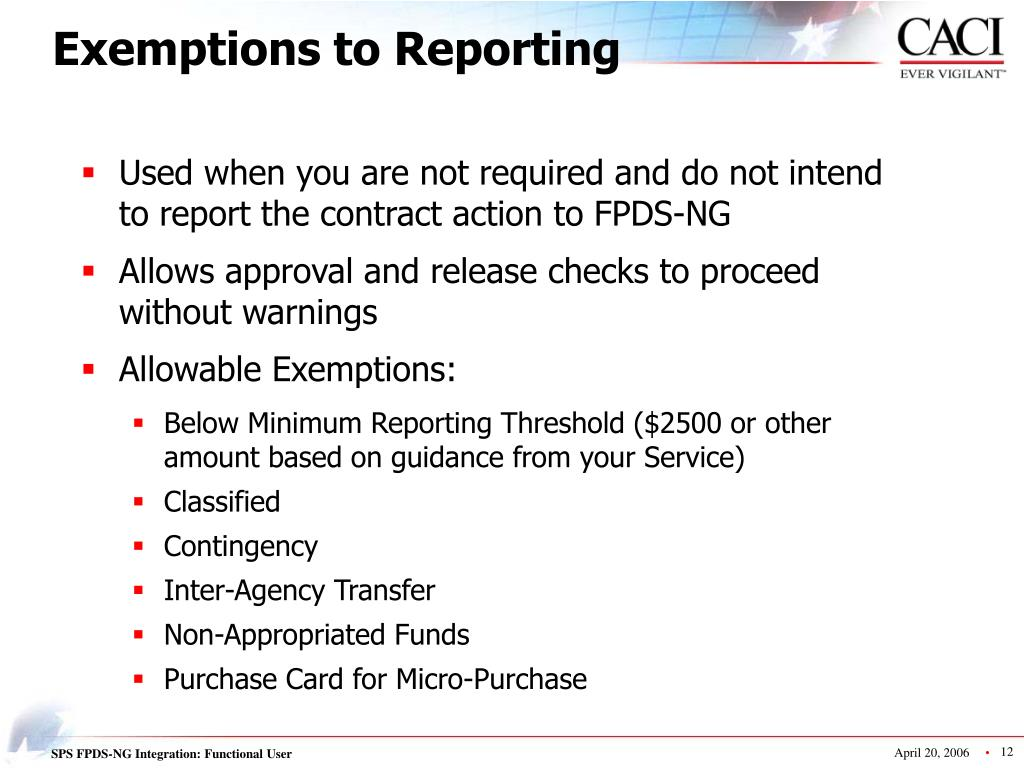 Exemptions to Reporting