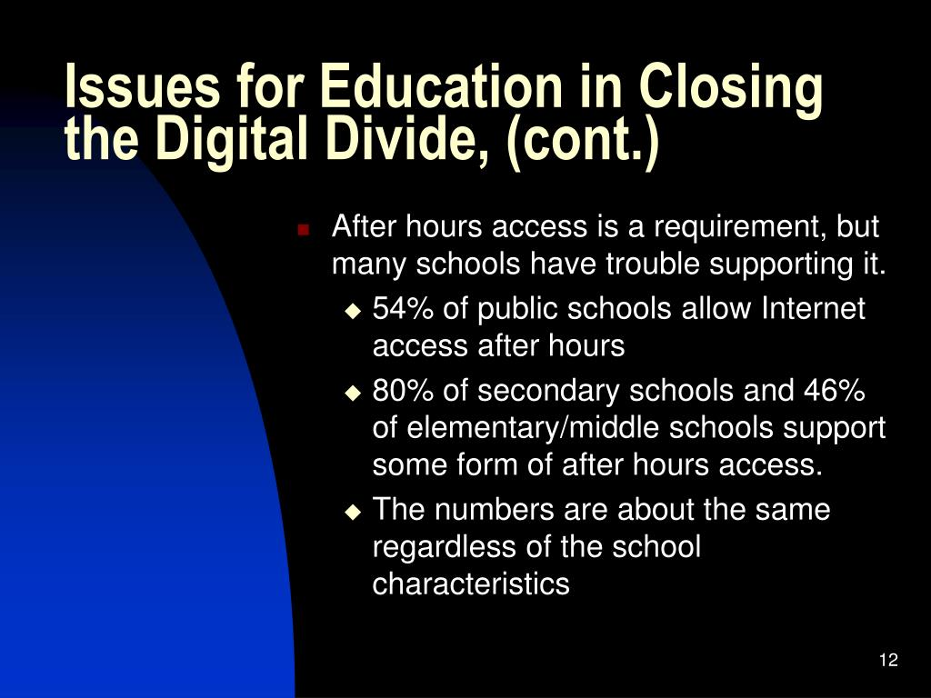 Issues for Education in Closing the Digital Divide, (cont.)