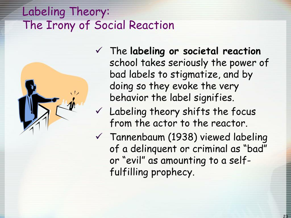 tannenbaum labeling theory To assume that such labeling might have serious implica- tions  framework  called labeling theory, which has  (tannenbaum, 1938 lemert, 1951) and  those.