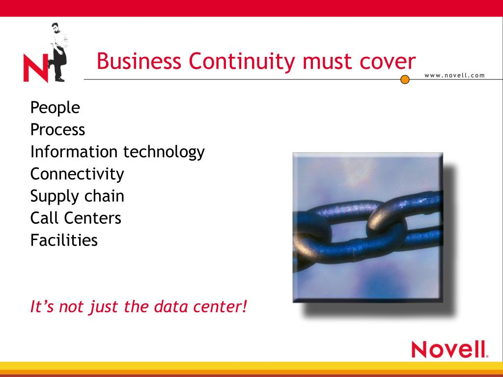 Business Continuity must cover