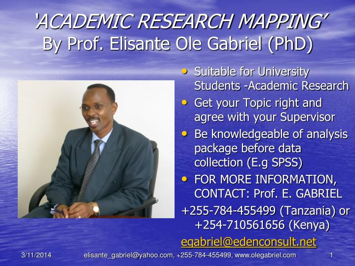 Academic research mapping by prof elisante ole gabriel phd