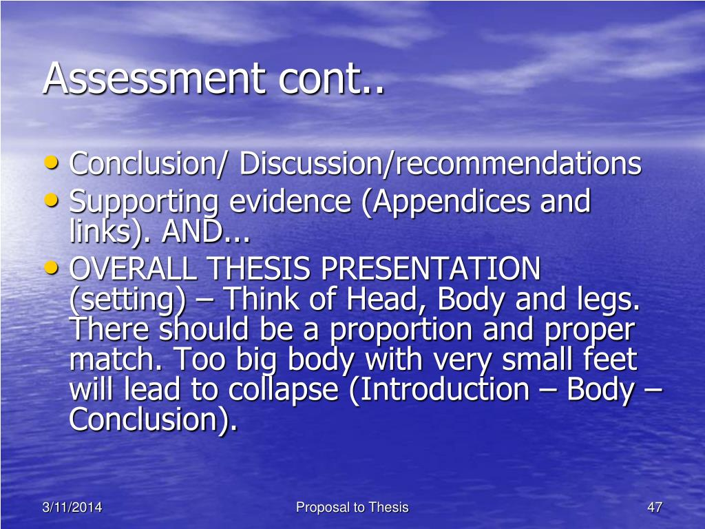 Assessment cont..