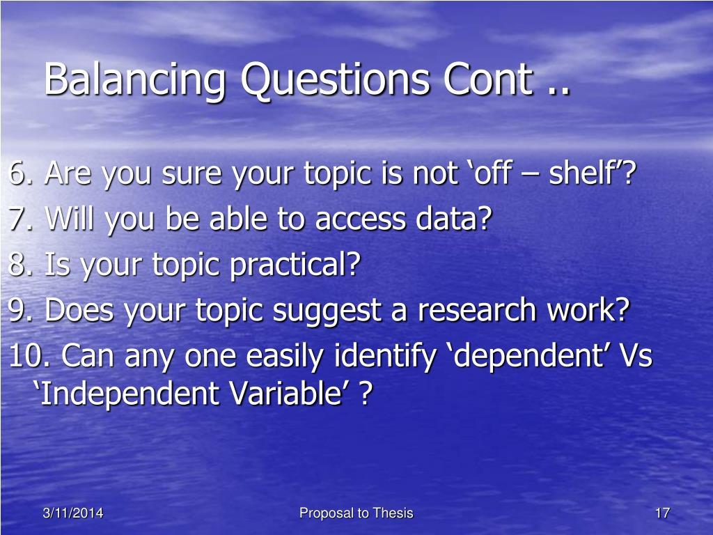 Balancing Questions Cont ..