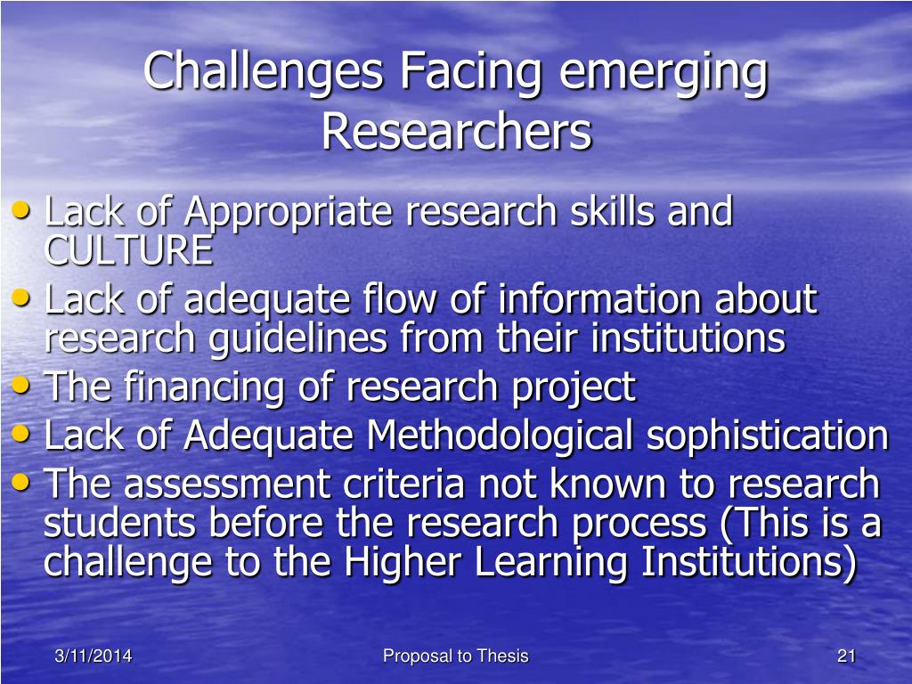 Challenges Facing emerging Researchers