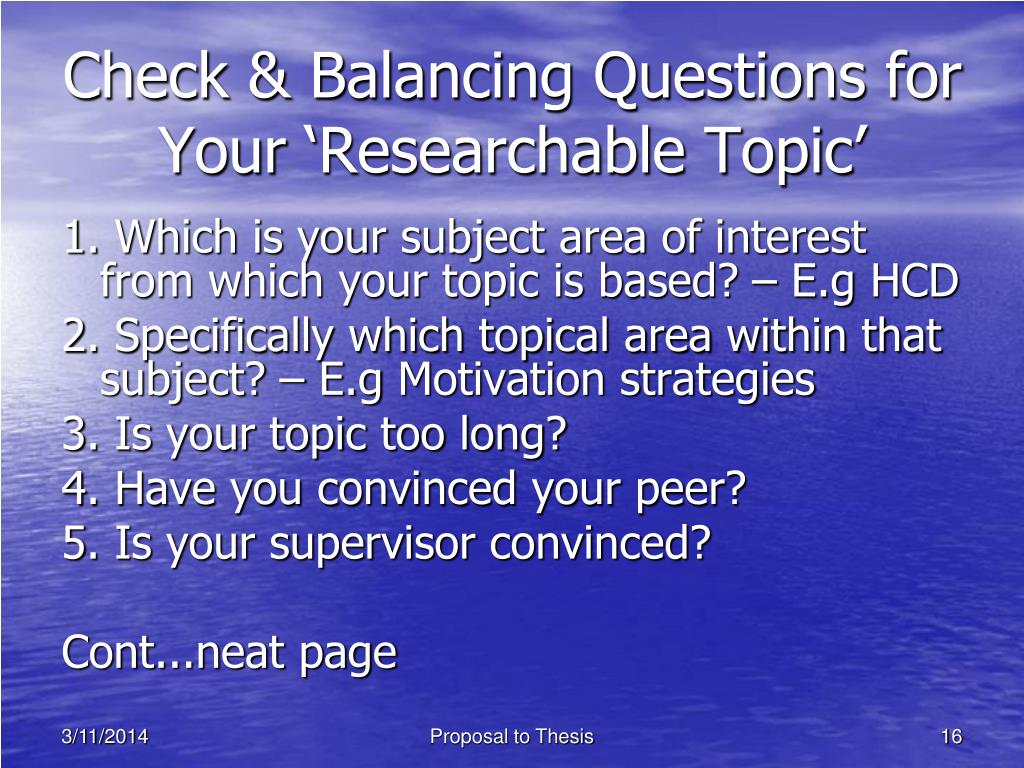 Check & Balancing Questions for Your 'Researchable Topic'