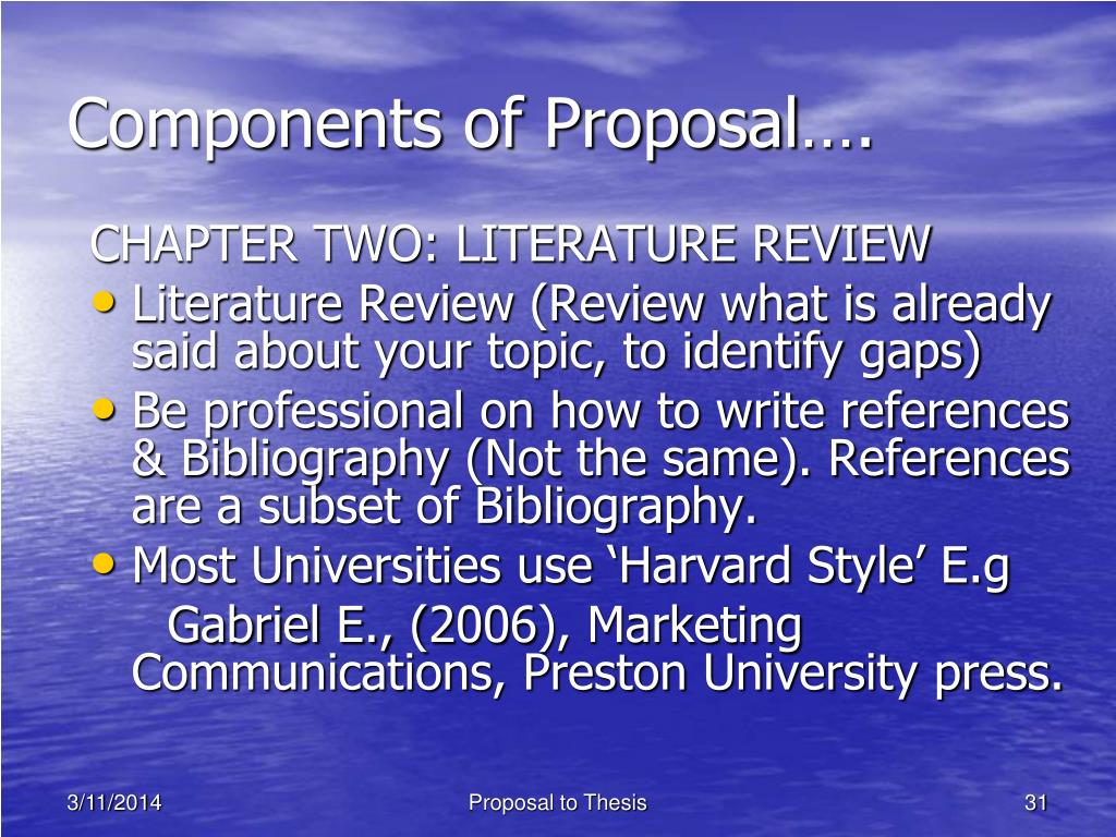 Components of Proposal….