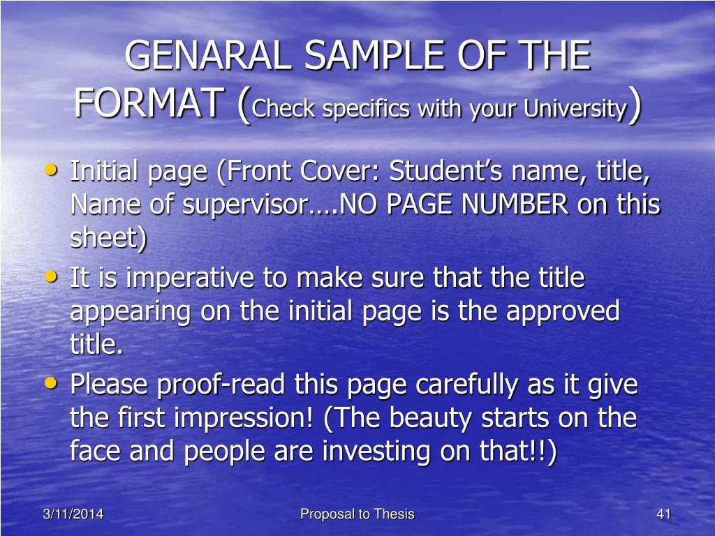 GENARAL SAMPLE OF THE FORMAT (