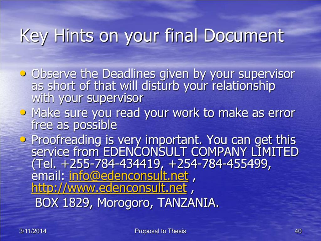 Key Hints on your final Document