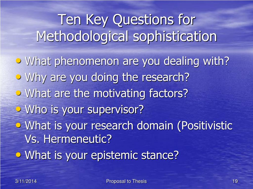 Ten Key Questions for