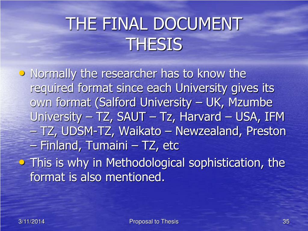 THE FINAL DOCUMENT