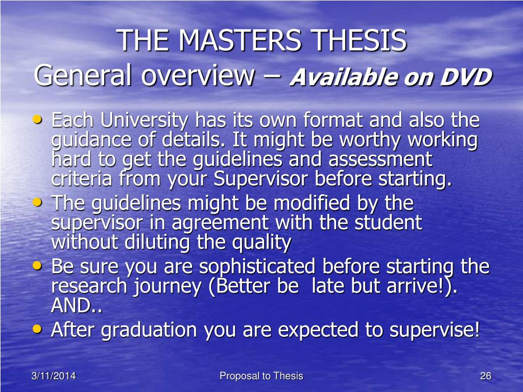 THE MASTERS THESIS