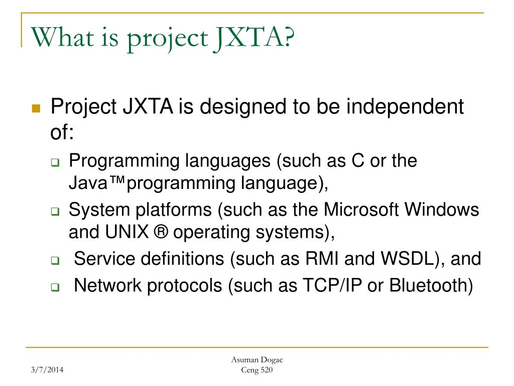 What is project JXTA?
