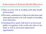 achievement of national health objectives