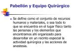 pabell n y equipo quir rgico