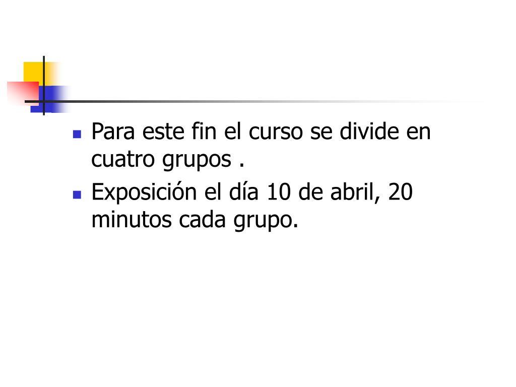 Para este fin el curso se divide en cuatro grupos .