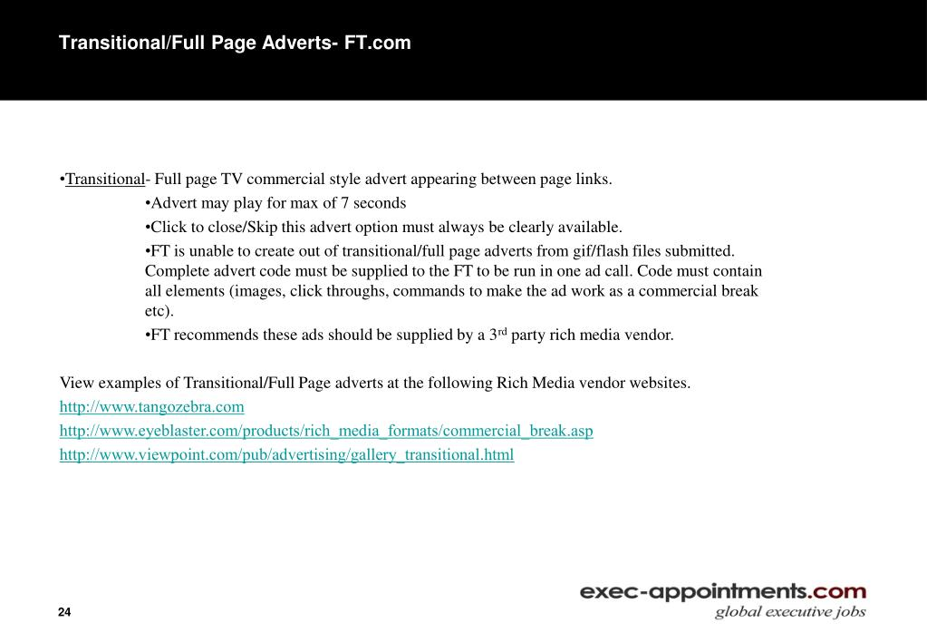 Transitional/Full Page Adverts- FT.com