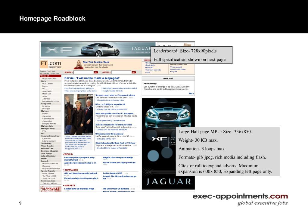 Homepage Roadblock