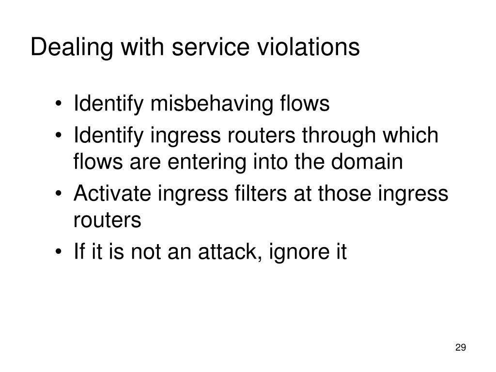 Dealing with service violations