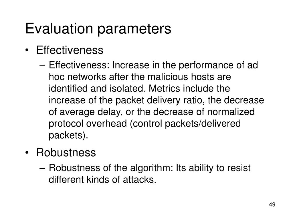 Evaluation parameters