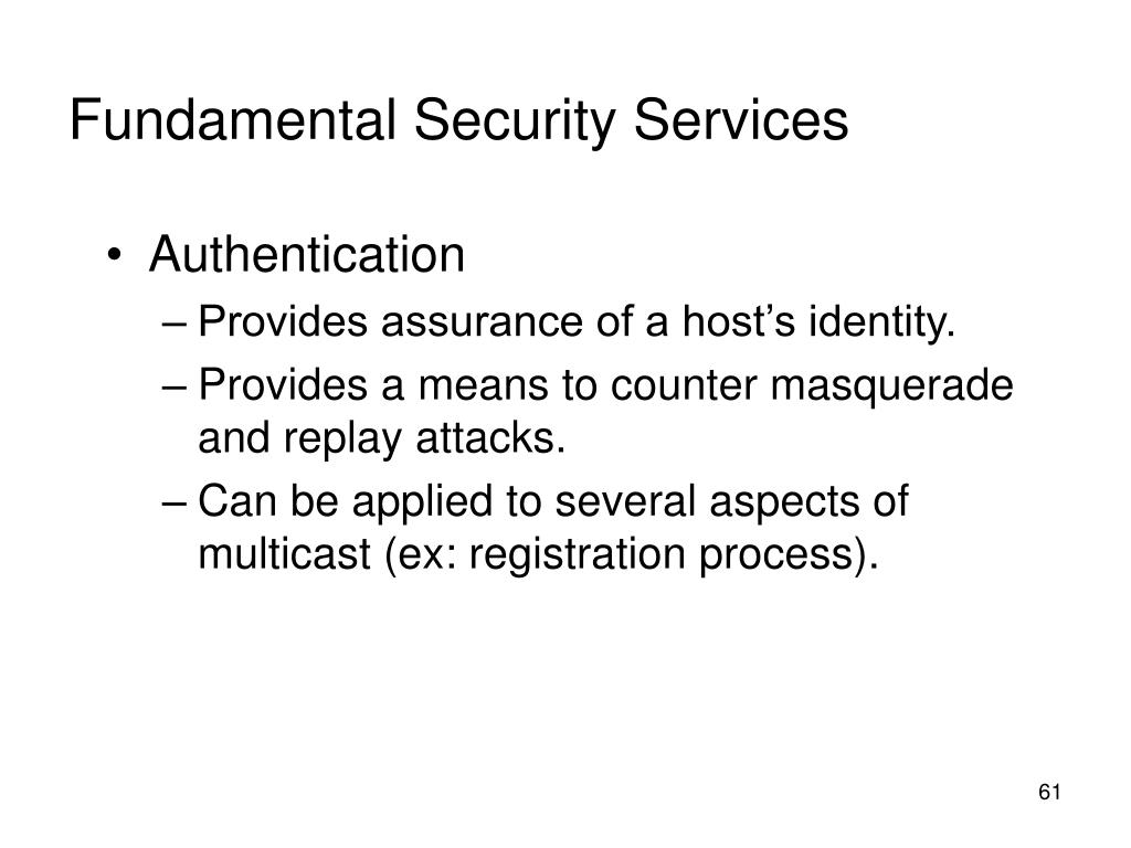 Fundamental Security Services