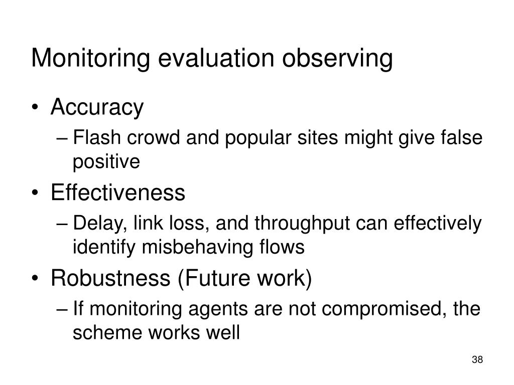 Monitoring evaluation observing