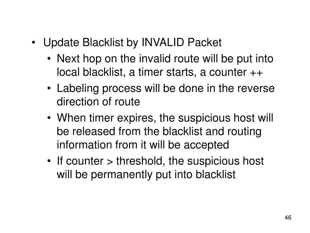 Update Blacklist by INVALID Packet