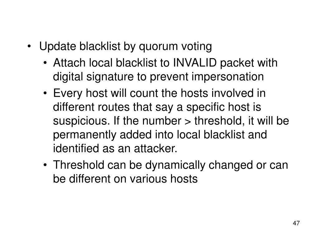 Update blacklist by quorum voting