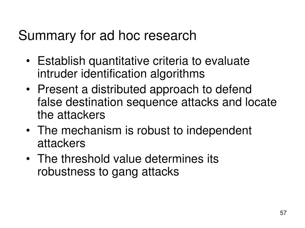 Summary for ad hoc research