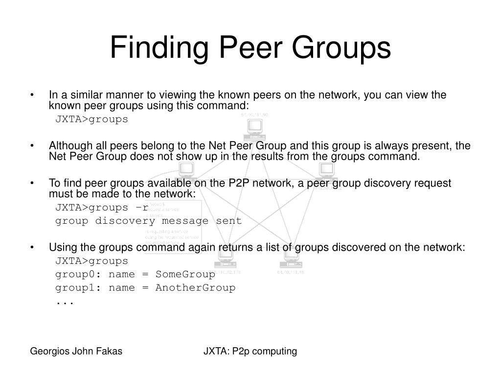 In a similar manner to viewing the known peers on the network, you can view the known peer groups using this command:
