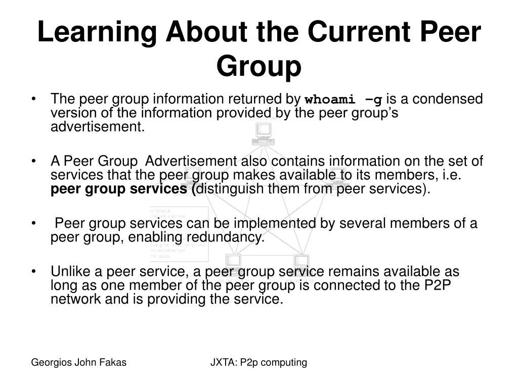 The peer group information returned by
