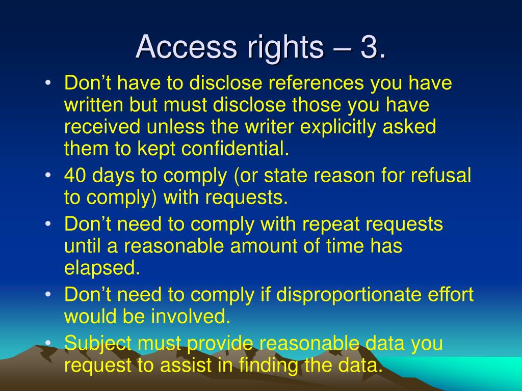 Access rights – 3.