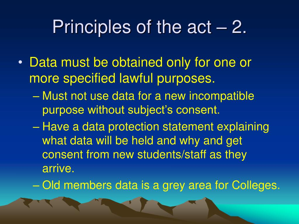 Principles of the act – 2.