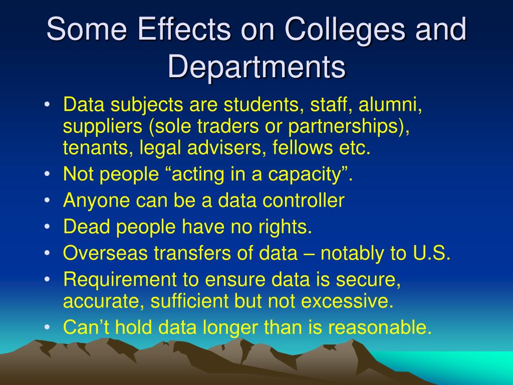 Some Effects on Colleges and Departments