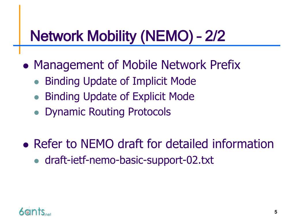 Network Mobility (NEMO) – 2/2