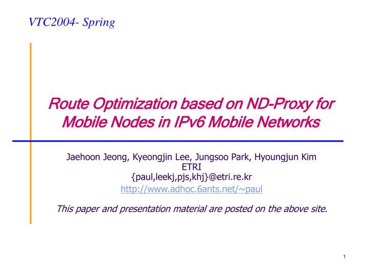 Route optimization based on nd proxy for mobile nodes in ipv6 mobile networks l.jpg