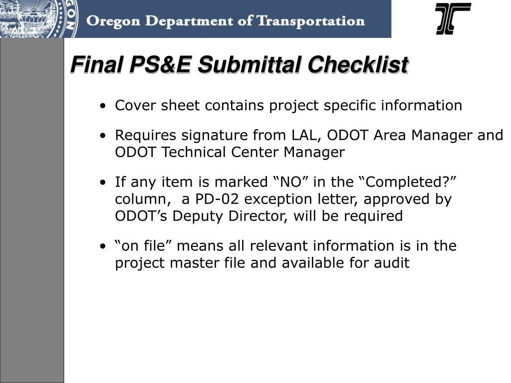 Final PS&E Submittal Checklist