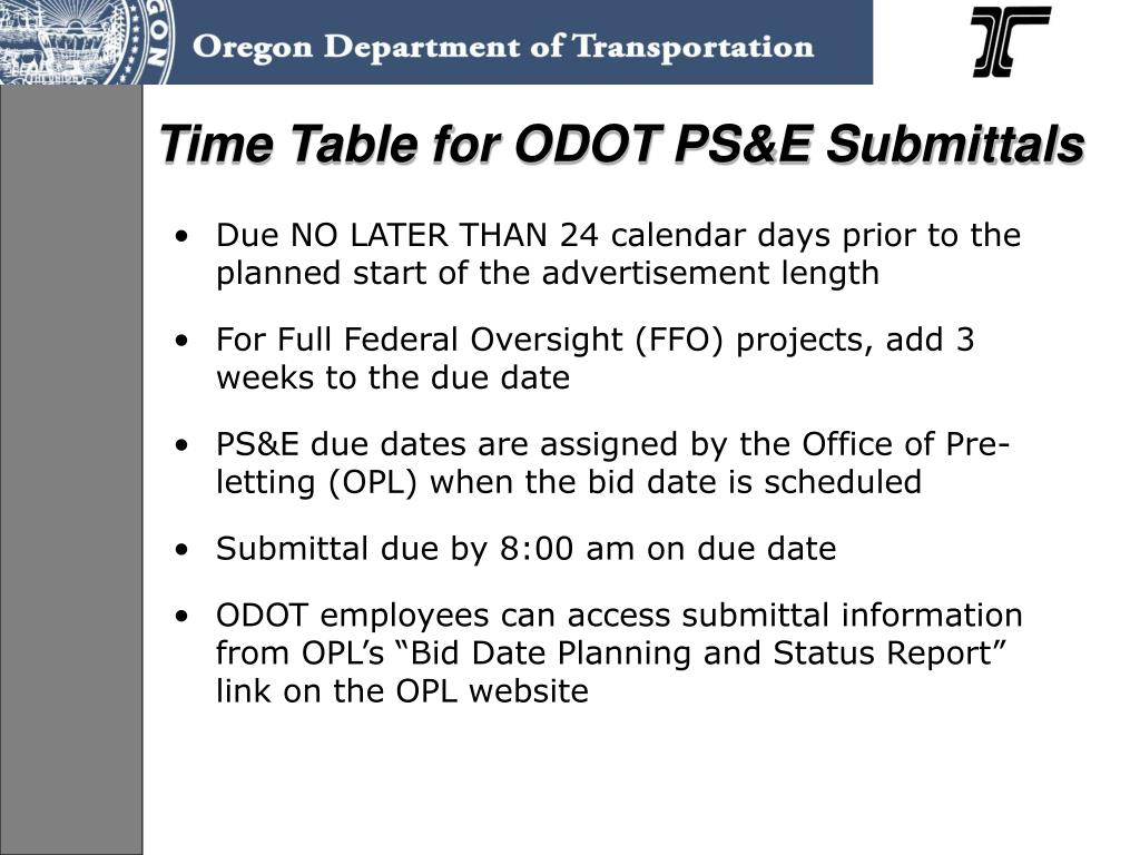 Time Table for ODOT PS&E Submittals