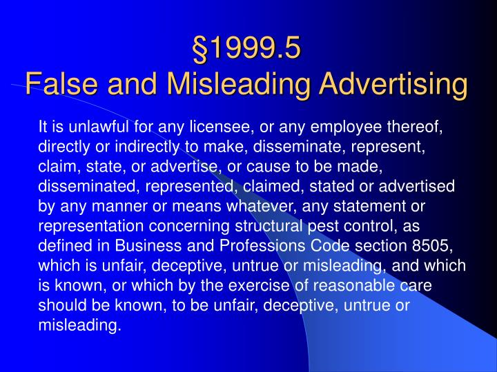 1999 5 false and misleading advertising
