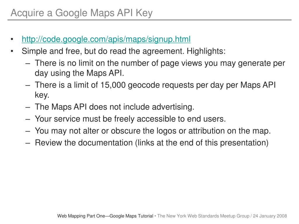 Acquire a Google Maps API Key